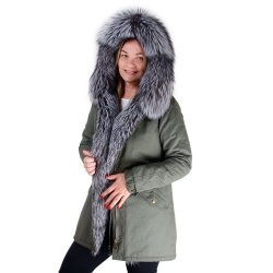 Parka with Hood and Front of Silver Fox Fur