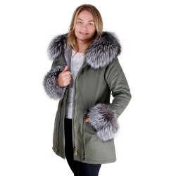 Parka with Hood and Cuffs of Silver Fox Fur