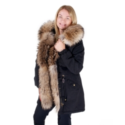 Black Parka with Hood and Front of Finn Raccoon Fur