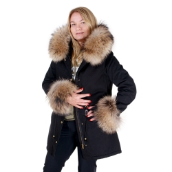 Black Parka with Hood and Cuffs of Finn Raccoon Fur