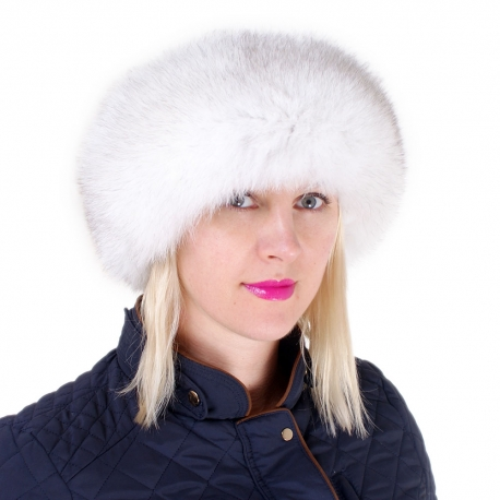 Women's Blue Fox Fur Roller Hat with Leather Top