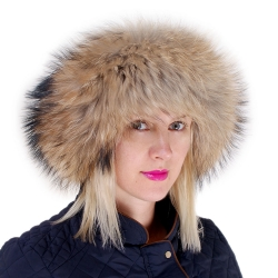 Raccoon Fur Roller Hat with Sheepskin Top
