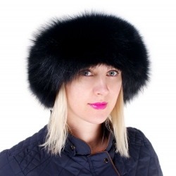 Black Fox Fur Roller Hat with Sheepskin Top