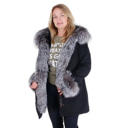 Black Parka with Hood, Cuffs and Front of Silver Fox Fur