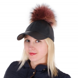 Leather Baseball Cap with Pink Raccoon Fur Pom Pom