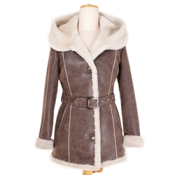 Shearling sheepskin hooded jacket (KP10)
