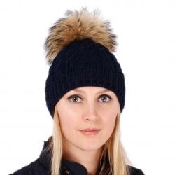 Navy Blue Wool Hat with Raccoon Fur Pom Pom