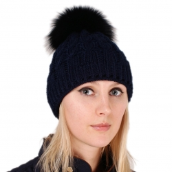 Navy Blue Wool Hat with Black Fox Fur Pom Pom