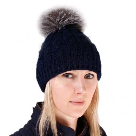 Navy Blue Wool Hat with Silver Fox Fur Pom Pom