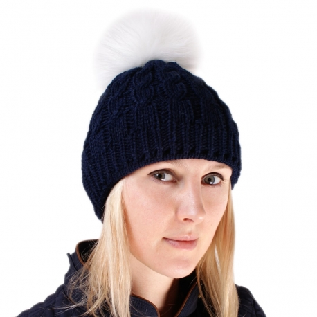 Navy Blue Wool Hat with White Fox Fur Pom Pom