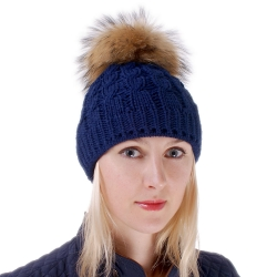 Blue Wool Hat with Raccoon Fur Pom Pom