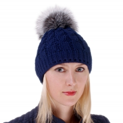 Blue Wool Hat with Silver Fox Fur Pom Pom