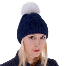 Blue Wool Hat with White Fox Fur Pom Pom