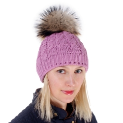 Pink Wool Hat with Raccoon Fur Pom Pom
