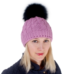 Pink Wool Hat with Black Fox Fur Pom Pom