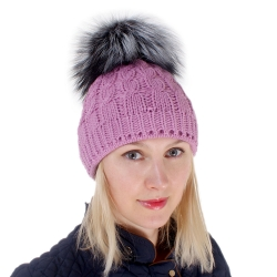 Pink Wool Hat with Silver Fox Fur Pom Pom