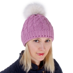 Pink Wool Hat with White Fox Fur Pom Pom