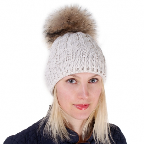 Cream-colored Wool Hat with Raccoon Fur Pom Pom