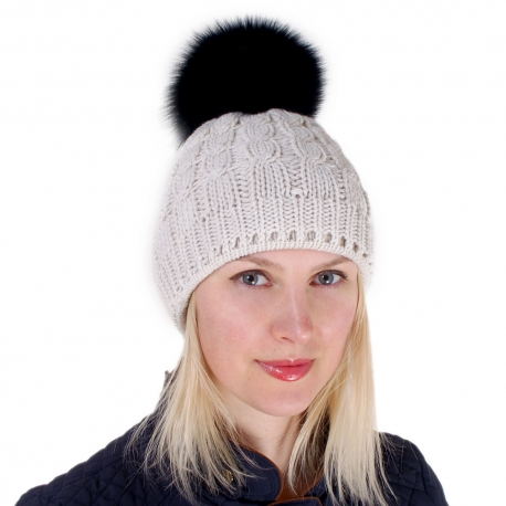 Cream-colored Wool Hat with Black Fox Fur Pom Pom