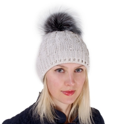 Cream-colored Wool Hat with Silver Fox Fur Pom Pom