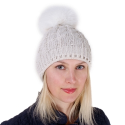 Cream-colored Wool Hat with White Fox Fur Pom Pom