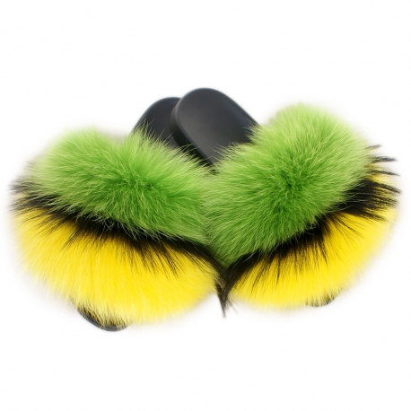 Women's Fur Slides, Sandals with Green, Black & Yellow Fur