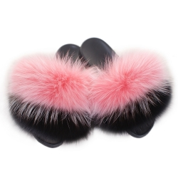 Women's Fur Slides, Sandals with Pink, Silver & Black Fox Fur