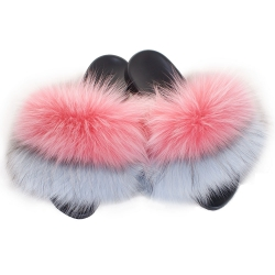 Fur Slides, Sandals with Pink, Silver & Light Blue Fur