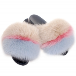 Slides with Cream-coloured, Pink & Light Blue Fox Fur