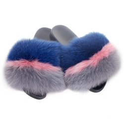 Fur Slides, Sandals with Blue, Pink & Grey Fox Fur