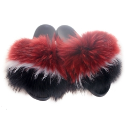 Red, White & Black Fur Slides, Sandals with Raccoon Fur