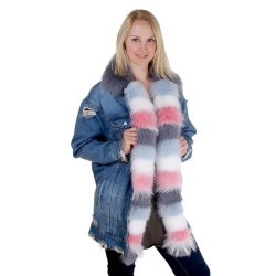 Women's Denim Jacket with Collar and Front of Fur