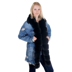 Women's Denim Jacket with Collar and Front of Black Fur