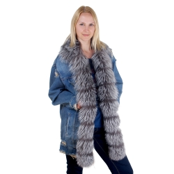 Women's Denim Jacket with Collar and Front of Silver Fox Fur