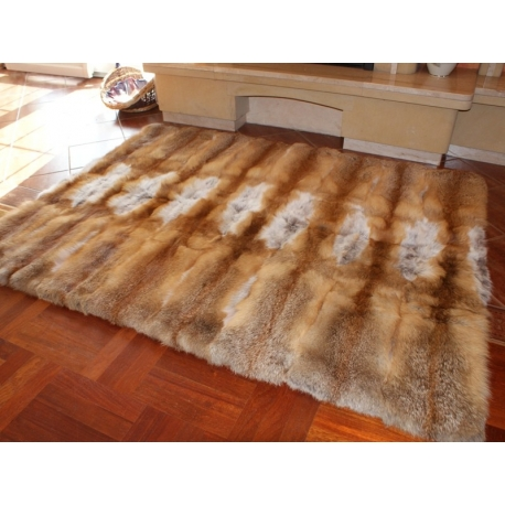 Fur Carpet Coverlet Blanket of Red Fox Fur 130x130cm