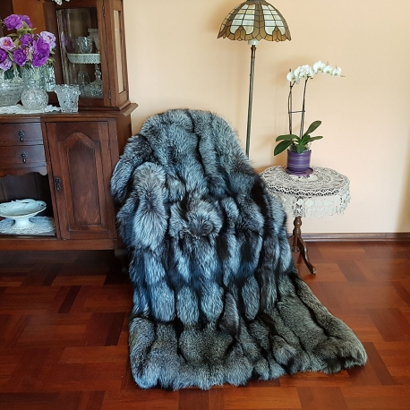Fur Carpet Coverlet Blanket of Silver Fox Fur 180x190