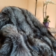 Fur Carpet Coverlet Blanket of Silver Fox Fur 190x210