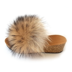 Women's Cork Wedge Slides with Raccoon Fur