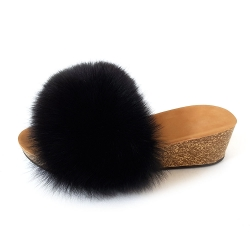 Women's Cork Wedge Slides with Black Fox Fur