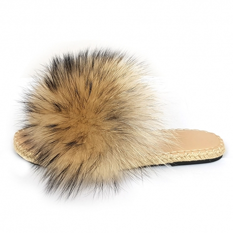 Stylish Braided Sole Slides with Raccoon Fur