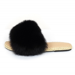 Stylish Braided Sole Slides with Black Fox Fur