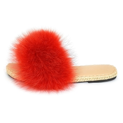 Stylish Braided Sole Slides with red Fox Fur