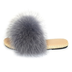 Stylish Braided Sole Slides with grey Fox Fur