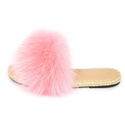 Stylish Braided Sole Slides with pink Fox Fur