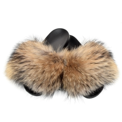 Stylish Women's Slides With Raccoon Fur