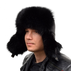 Genuine Men's Black Fox Fur Hat I Fur Bomber Hat