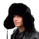 Genuine Men's Black Fox Fur Hat II Fur Ushanka Hat