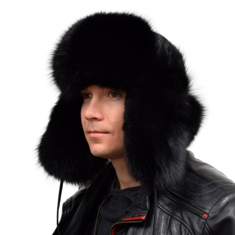 Genuine Men's Black Fox Fur Hat IV Fur Ushanka Hat