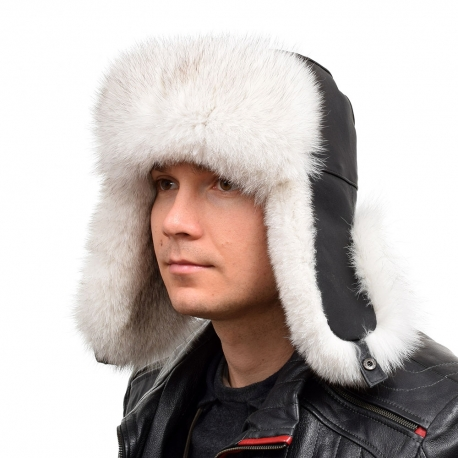 Genuine Men's Blue Fox Fur Hat I Fur Bomber Hat