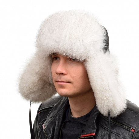 Genuine Men's Blue Fox Fur Hat II Fur Ushanka Hat